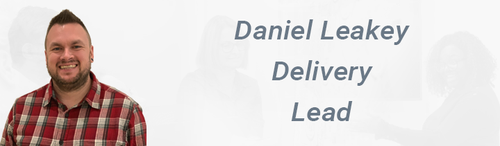 Image of a smiling Daniel Leakey. Text: Daniel Leakey Delivery Lead