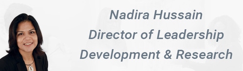 Image of a smiling Nadira Hussain Text: Nadira Hussain Director of Leadership Development & Research