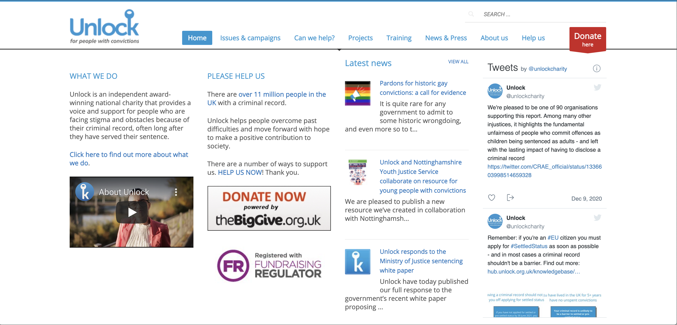 Top of the Unlock charity home page
