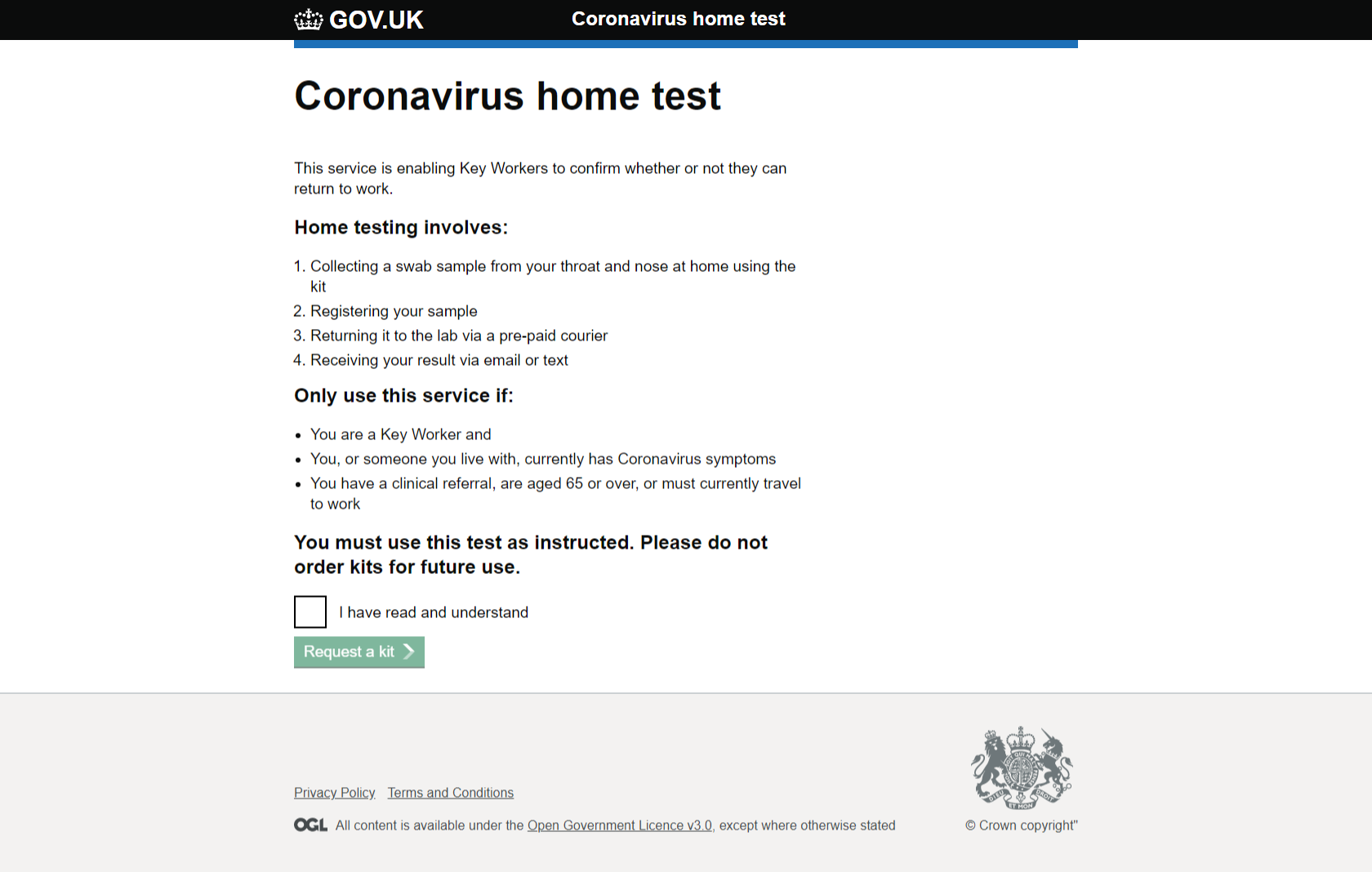 COVID-19 home test ordering service