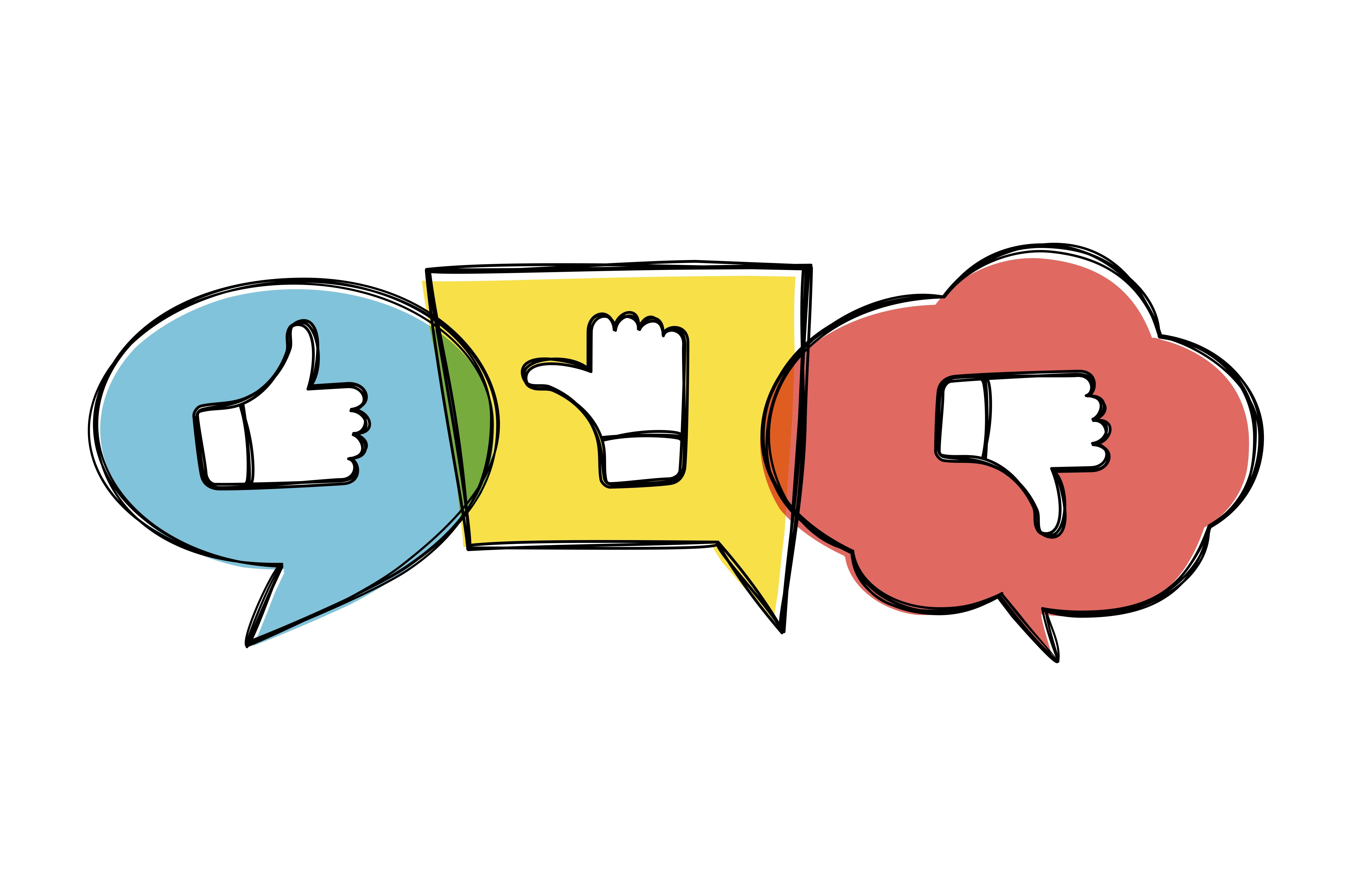 Hand drawn green, red and yellow speech bubbles with thumbs up and down. Like, dislike and undecided icons in sketchy style. Pointing gesture hands. Feedback concept. Credit:Mashot